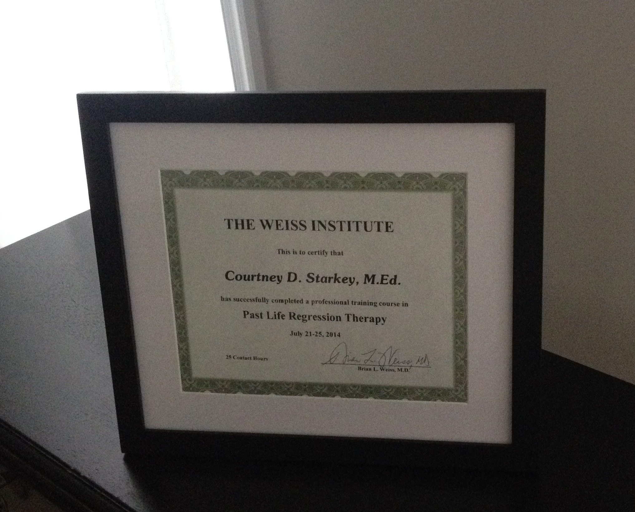 Framed Weiss Institute Certificate