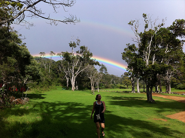 Courtney and Double Rainbow in Kauai